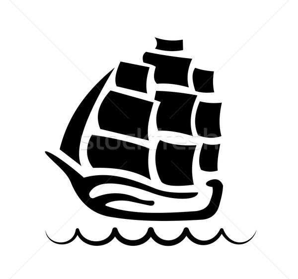 силуэта морем гребень волна флаг Сток-фото © tatiana3337
