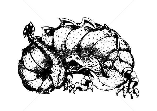 Black and white engraving of a dragon Stock photo © tatiana3337