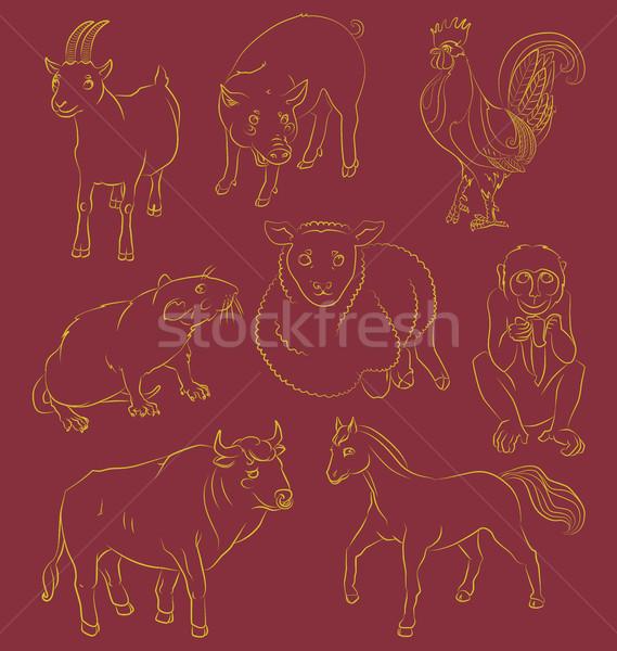 Kép bika kakas kecske disznó ló Stock fotó © tatiana3337