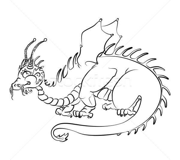 Feketefehér kép sárkány nem gyerekek könyv Stock fotó © tatiana3337