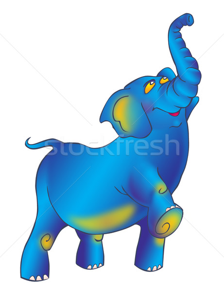 Triumphantly striding proudly blue elephant with a raised trunk Stock photo © tatiana3337