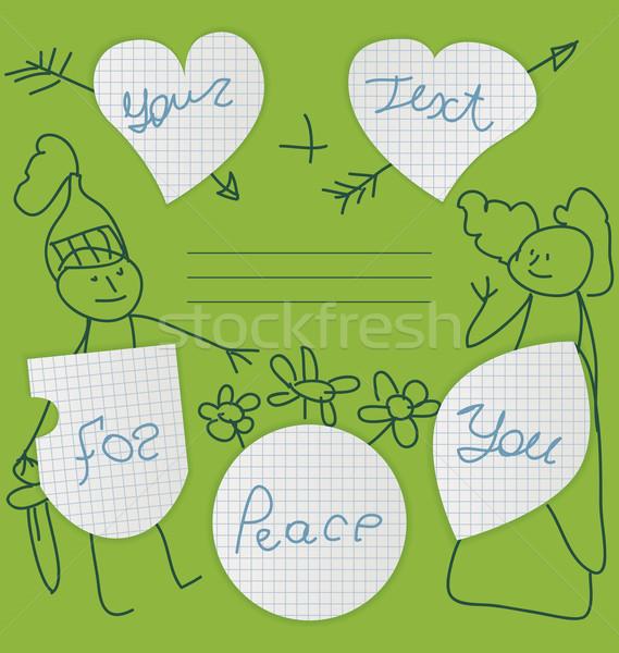 Pegatinas escuela cuaderno forma corazón escudo Foto stock © tatiana3337