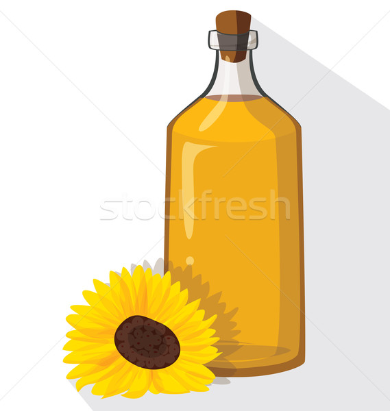 Glass bottle of sunflower oil with cork Stock photo © tatiana3337