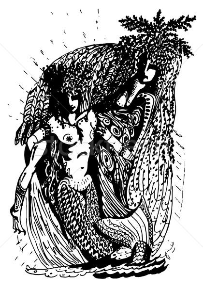 Zwart wit graphics twee zeemeermin geest natuur Stockfoto © tatiana3337
