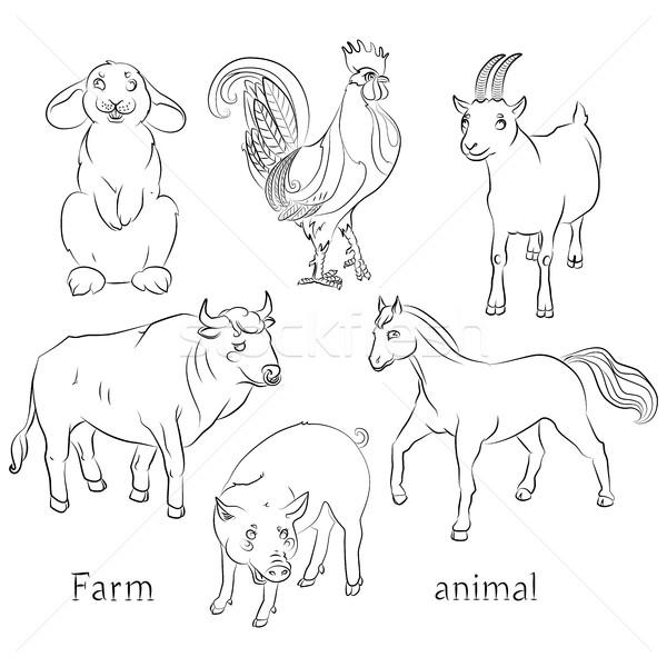 Zwart wit afbeelding stier haan geit varken Stockfoto © tatiana3337