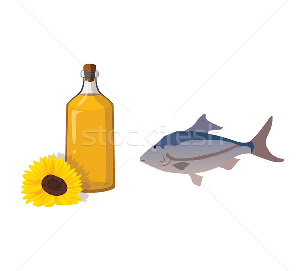 Vegetable oil and fish - useful products Stock photo © tatiana3337