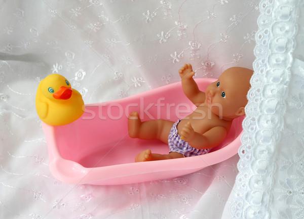 Fürdik baba babajátékok lány szépség jókedv Stock fotó © tatiana3337