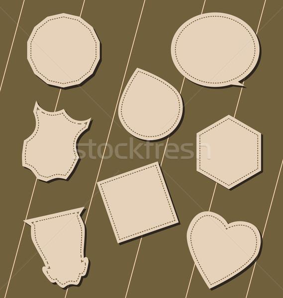 Etichette forma cartelloni pubblicitari cuore gocce nube Foto d'archivio © tatiana3337