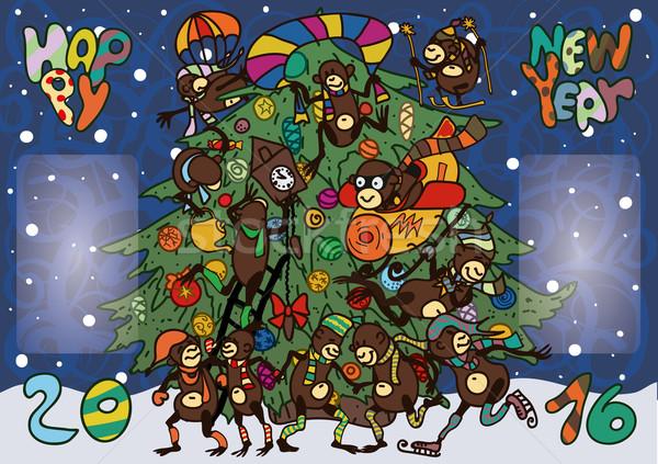 Vicces majmok új év tizenkettő derűs tánc Stock fotó © tatiana3337
