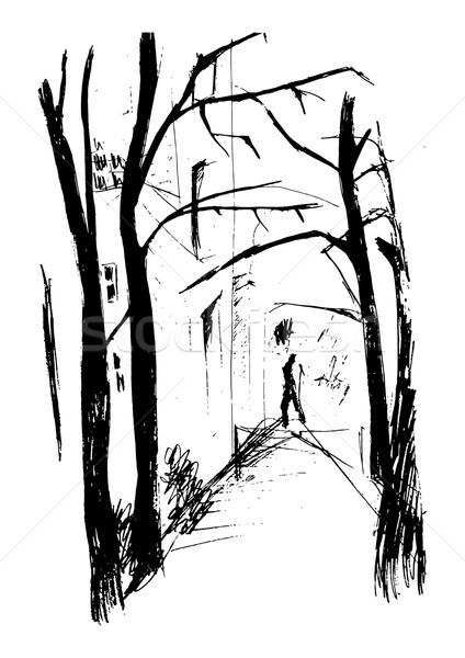 Сток-фото: городской · улице · осень · расстояние · человека · Рисунок · дороги