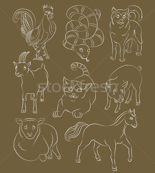 Cat-cock-dog-goat-horse-pig-sheep-snake Stock photo © tatiana3337