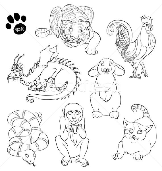 cat, cock, dragon, monkey, rabbit, snake, tiger Stock photo © tatiana3337