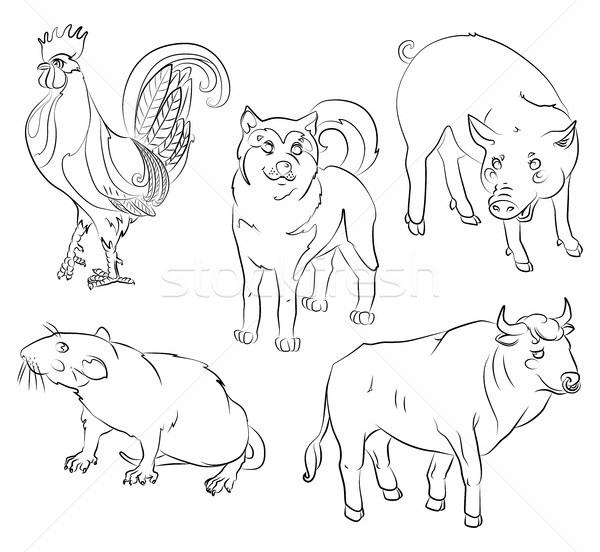 rooster, dog, pig, rat and ox Stock photo © tatiana3337