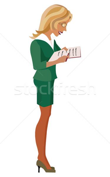 üzlet öltöny szemüveg zöld eps10 kommunikáció Stock fotó © tatiana3337