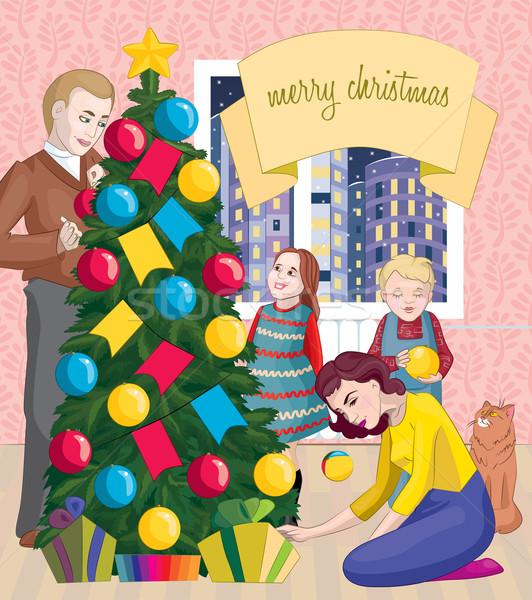 Család karácsony ünneplés ünnep apa anya Stock fotó © tatiana3337