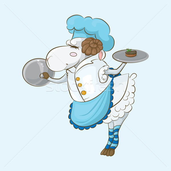 Schapen kok chef bereid lever gemak Stockfoto © tatiana3337