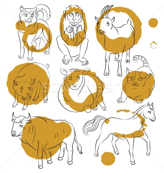 Bull-cat-dog-goat-horse-monkey-pig-sheep Stock photo © tatiana3337