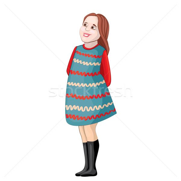 Kíváncsi lány kép barna haj kék ruha Stock fotó © tatiana3337