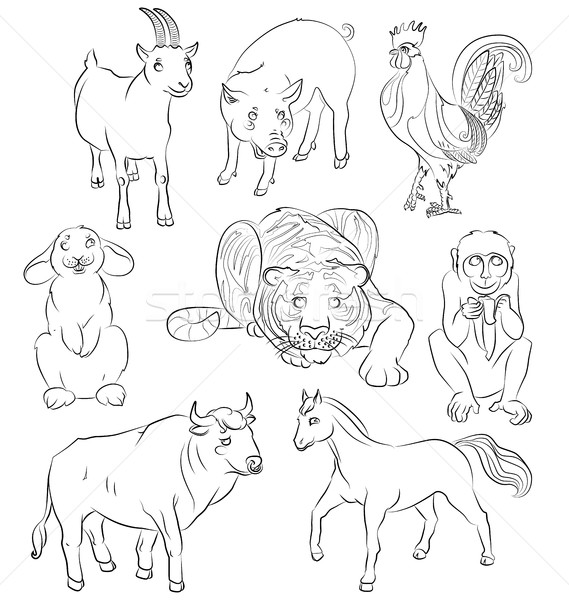 Bull-cock-goat-horse-monkey-pig-rabbit-tiger Stock photo © tatiana3337