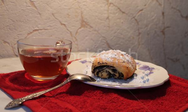 Zsemle pipacs magok reggeli fehér desszert Stock fotó © tatiana3337