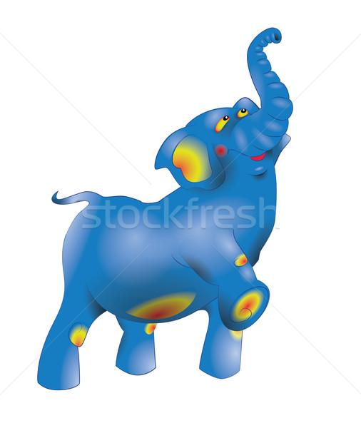 Kék elefánt mászik felfelé készít lépés Stock fotó © tatiana3337