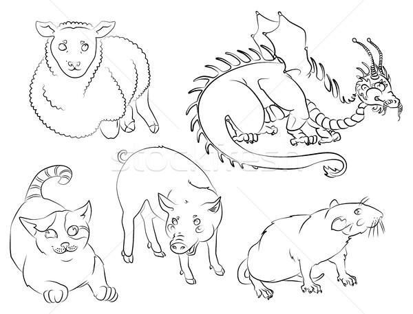 Gato dragón rata cerdo ovejas cinco Foto stock © tatiana3337