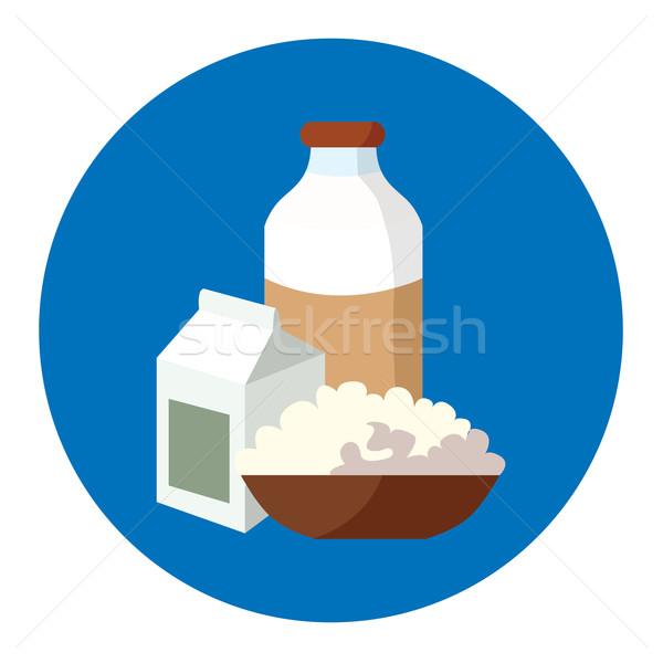 Tej sajt joghurt fő- termékek üveg Stock fotó © tatiana3337