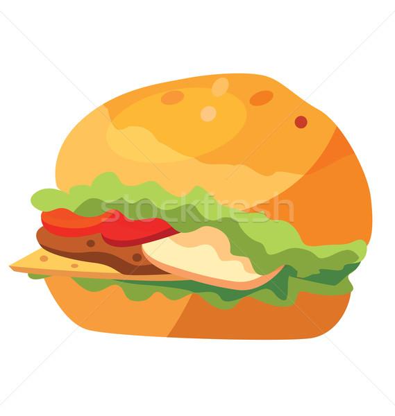 Egészségtelen étel gyorsételek hamburger kenyér vacsora gyors Stock fotó © tatiana3337