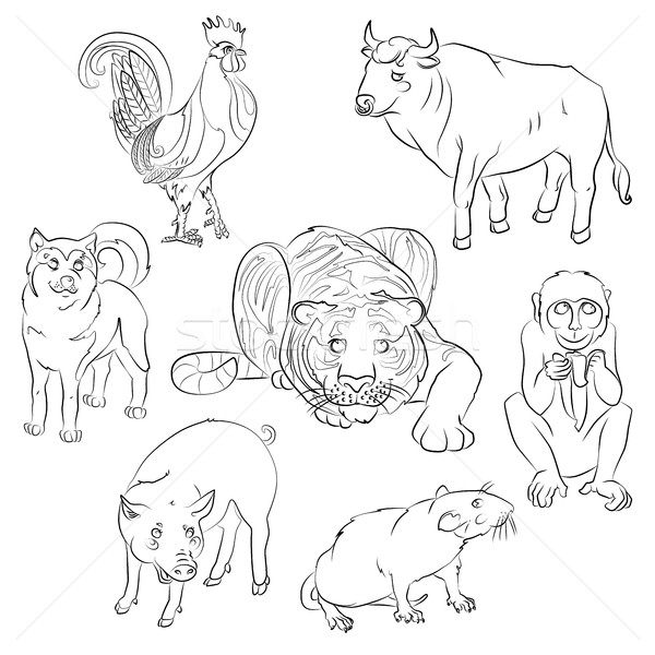 rooster, dog, pig, rat, monkey, tiger and ox Stock photo © tatiana3337