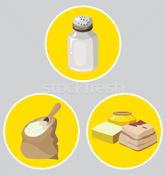 salt, semolina, refractory fats - food is harmful to the intesti Stock photo © tatiana3337