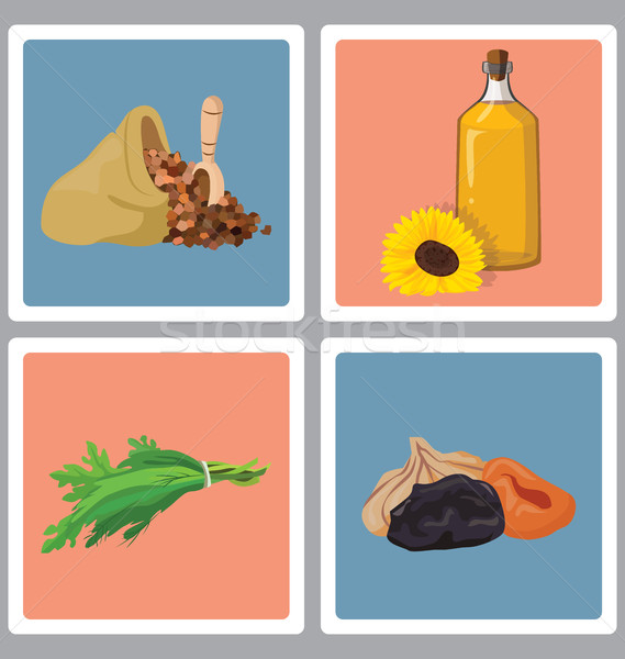 grains, herbs, oil and dried fruits - useful products Stock photo © tatiana3337