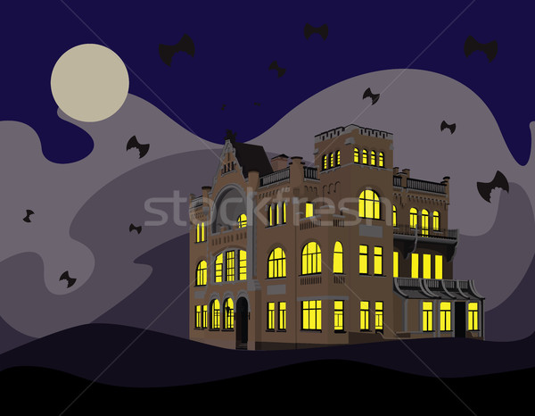 Postcard Halloween with abandoned mansion Stock photo © tatiana3337
