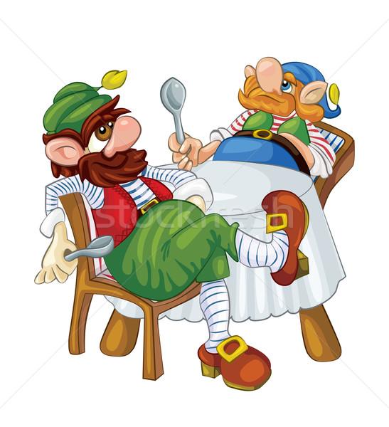 Twee dwerg wachten diner tafel Stockfoto © tatiana3337