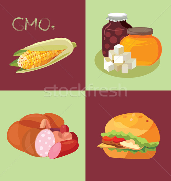 GMO-containing foods, sweets, sausages and fast food - food is h Stock photo © tatiana3337