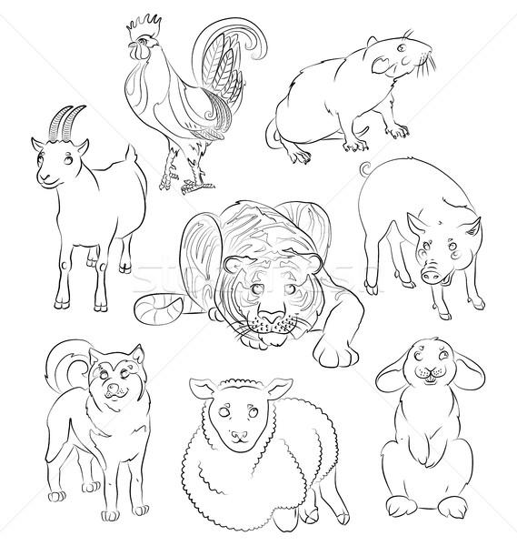 Cock-dog-Goat-pig-rabbit-rat-sheep-tiger Stock photo © tatiana3337