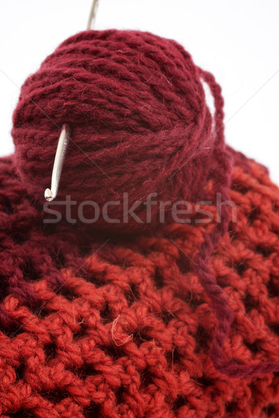Ball of wool and knitting hook for knitted items, white backgrou Stock photo © Tatik22