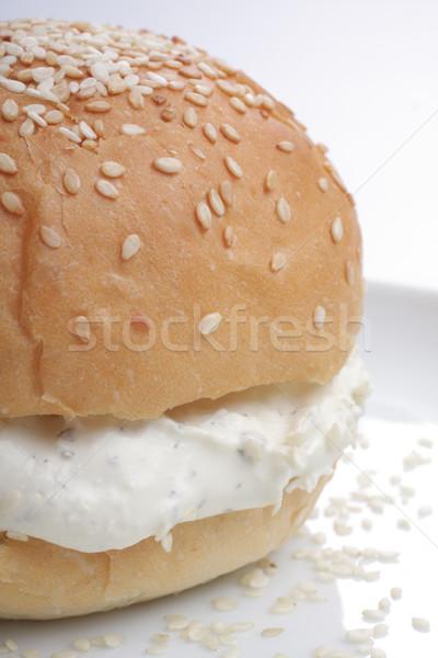 Chignon sésame fraîches fromage cottage blanche plaque Photo stock © Tatik22