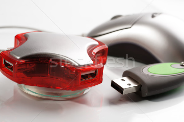 Four port red USB hub, flash memory and mouse Stock photo © Tatik22