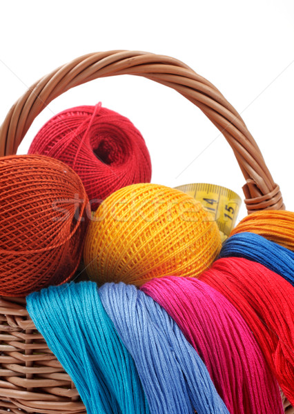 colored threads for needlework in the basket Stock photo © Tatik22