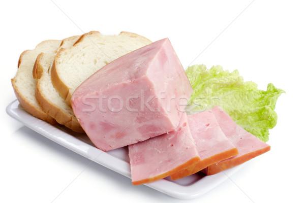 ハム 白パン プレート 食品 背景 緑 ストックフォト © Tatik22