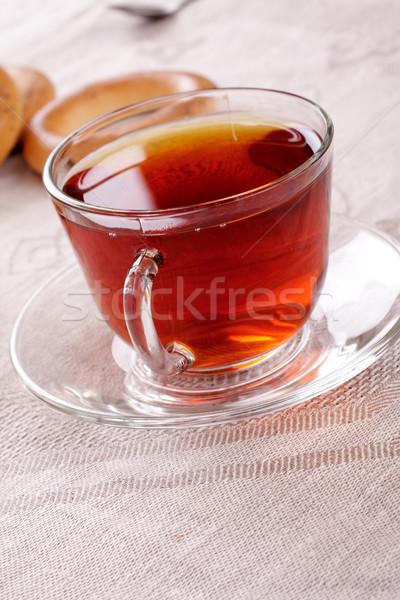 Fincan sıcak çay kurabiye peçete su Stok fotoğraf © Tatik22