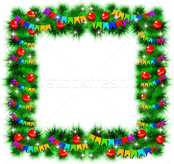 Noel çerçeve dekore edilmiş oyuncaklar bayraklar yalıtılmış Stok fotoğraf © Tatik22