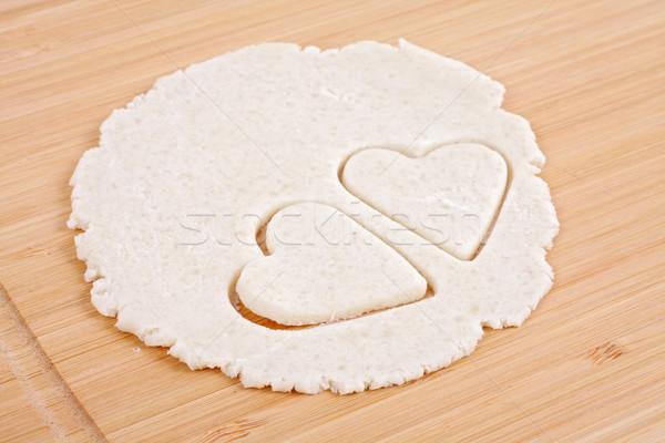 Sheet of cookie dough, hearts of pastry Stock photo © Tatik22