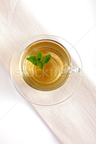Menta tea levél üveg háttér fehér Stock fotó © Tatik22
