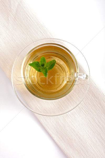 Nane çay yaprak cam arka plan beyaz Stok fotoğraf © Tatik22