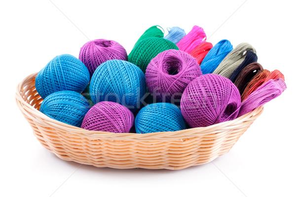 Verschillend kleuren borduurwerk mand studio geïsoleerd Stockfoto © Tatik22