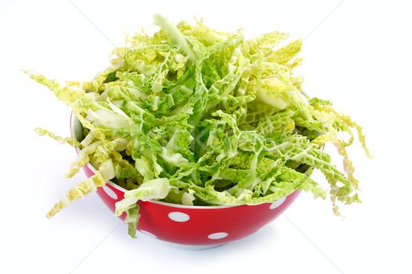 salad with fresh savoy cabbage on white background Stock photo © Tatik22