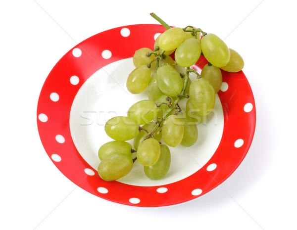 üzüm plaka meyve sağlık kırmızı beyaz Stok fotoğraf © Tatik22