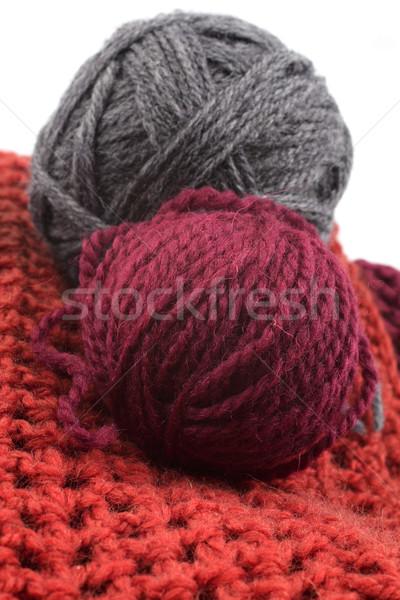 Knits and balls of wool on a white background Stock photo © Tatik22
