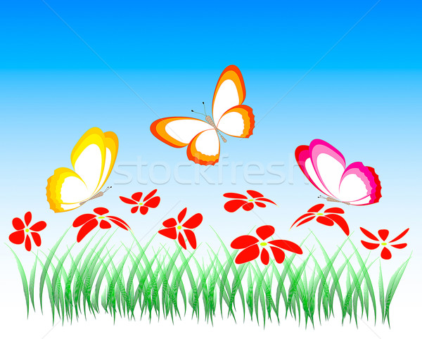çiçekler kelebekler örnek vektör gökyüzü çiçek Stok fotoğraf © Tatik22